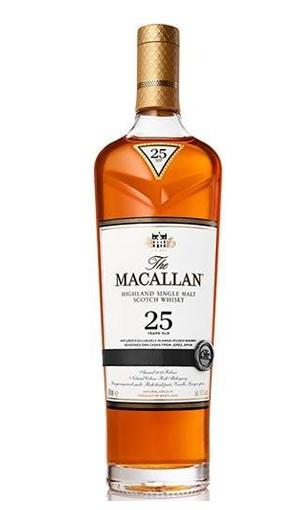 Vista frontal de una botella de Macallan 25 Sherry Oak