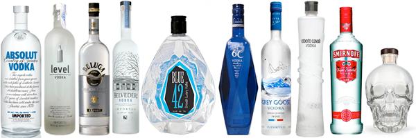 Comprar vodka de diferentes marcas: Absolut, Level, Beluga, Belvedere, Smirnoff, Blue 42, etc.