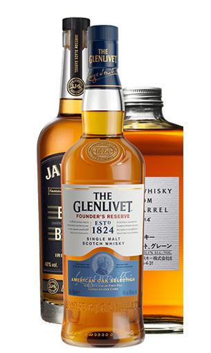 Vista frontal tres whiskies: Jack Daniels, Glenlivet, Nikka